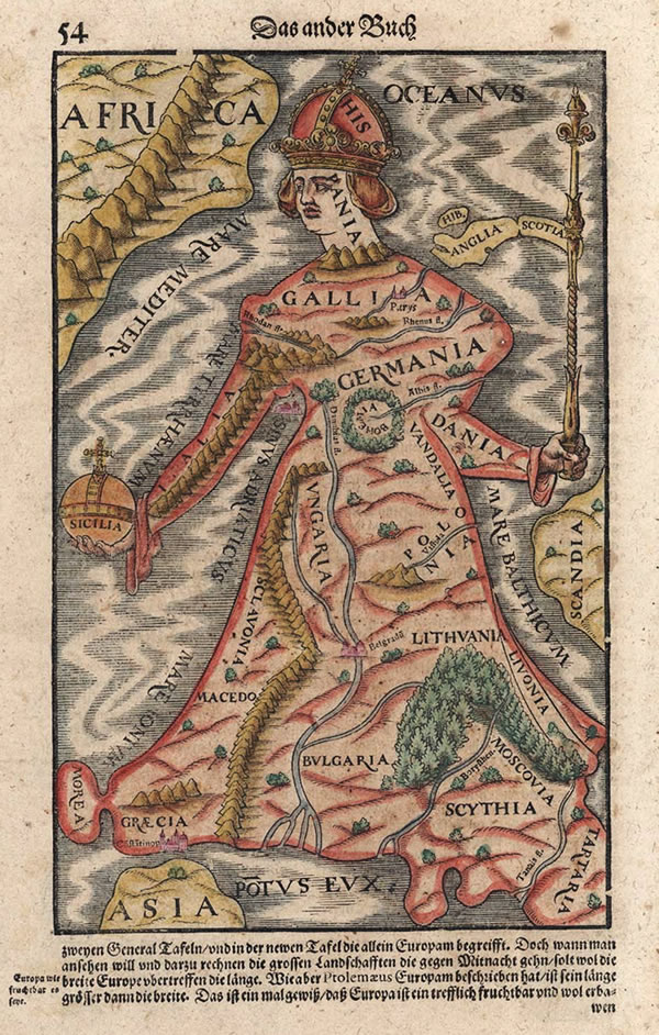 Europa Regina in Sebastian Münster's Cosmographia