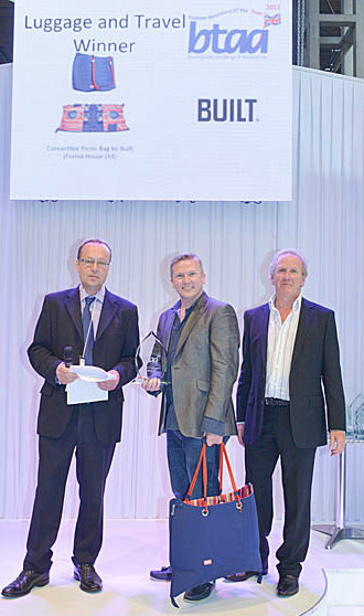 Richard Watts from Forma House receiving The Winners Award in the Luggage & Travel Category, 2013.